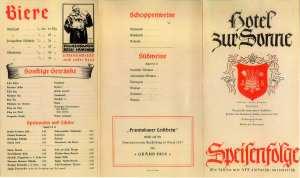 Speisenkarte 1938