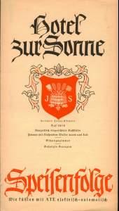 Speisekarte Hotel Zur Sonne01_1940